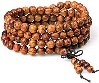 Wood Bracelet 108 Beads 8mm Diameter Tibetan Buddhist Link Wrist Sandalwood Beads Necklace Prayer Mala Elastic