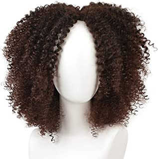 KRSI Short Afro Kinky Curly Hair Wigs for Black African American Women Natural Brown Costume Synthetic Wigs that Look Real