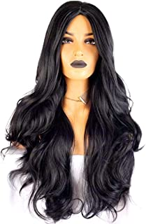 Natural Hair Wigs Long Wavy Curly 29.5 inches Wigs Natural Black Heat Resistant Fiber Side Part Women Synthetic Hair Side Part Wigs for Women (1b-Sidebangs)