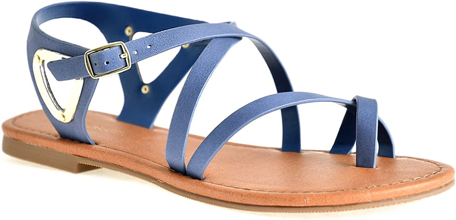 LUSTHAVE Women's Open Toe Strappy Ankle Strap gold Plated Detail Summer Flat Sandals