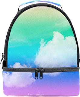 Mydaily Kids Lunch Box Colorful Sky Clouds Reusable Insulated School Lunch Tote Bag