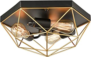 Brass Metal Flush Mount Ceiling Lights Contemporary Ceiling Lighting Black and Gold