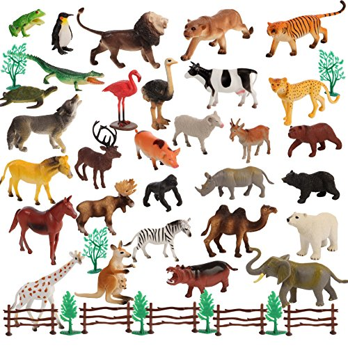 Migration 50 Piece Set of Animal Plastic Figures  Includes Jumbo 6 Inch Wild  Safari  Zoo  Jungle  Farm  Desert  Ocean Animals  Birds  Accessories and Container for Toddlers and Kids