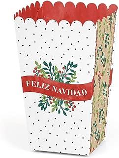 Big Dot of Happiness Feliz Navidad - Holiday and Spanish Christmas Party Favor Popcorn Treat Boxes - Set of 12