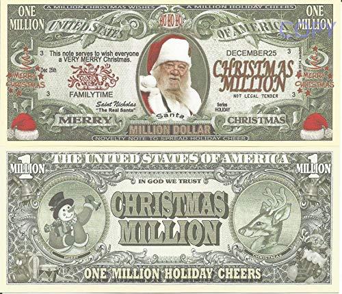 Novelty Dollar Santa Claus Father Christmas Saint Nicholas Real Santa Million Dollar Bills x 2