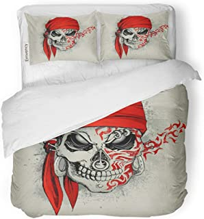 Emvency 3 Piece Duvet Cover Set Brushed Microfiber Fabric Breathable Red Tattoo of Skull Bandana on Abstract Grungy Evil Bedding Set with 2 Pillow Covers Full/Queen Size