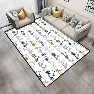 Rugs Kids Retro Scooter Pattern Sketchy Cute Motorbikes with Hearts Cartoon Style Fun Adventure Multicolor Carpets 2'x8'