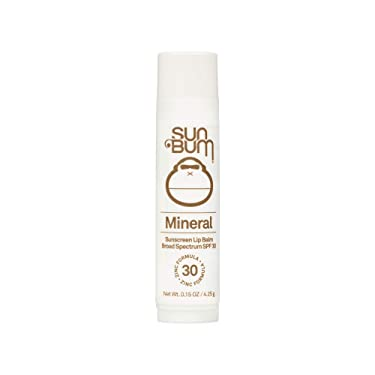 Sun Bum SPF 30 Mineral Sunscreen Lip Balm   Vegan and Reef Friendly (Octinoxate & Oxybenzone Free) Broad Spectrum Natural Lip Care with UVA/UVB Protection   .15 oz