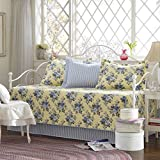 Laura Ashley | Linley Collection | Premium Quality Ultra Soft Daybed Coverlet, Lightweight Comfortable Bedding Set, Stylish Design for Home Décor, Pale Yellow