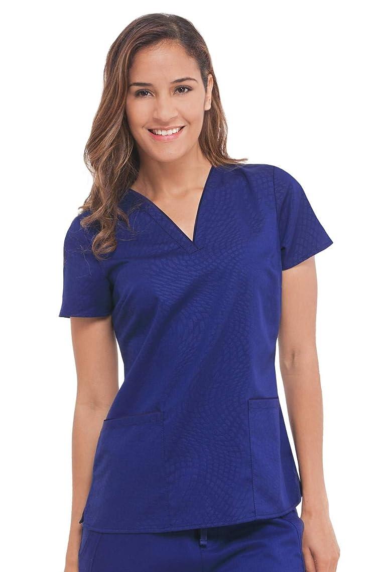 healing hands Purple Label Women's Amanda 2266-STS V-Neck Embossed Top Scrubs