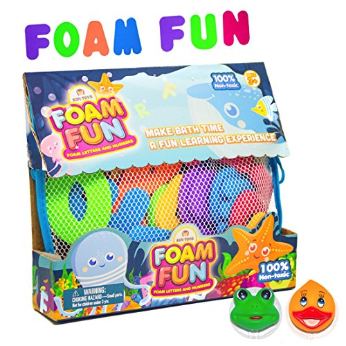 Foam Fun Alphabet Letters and Numbers for Bathtub Educational Organizer Storage Container Water Colorful Pastel Mesh Net Tub Floating Toy 36 PCS ABC for Kids Children Boys Girls