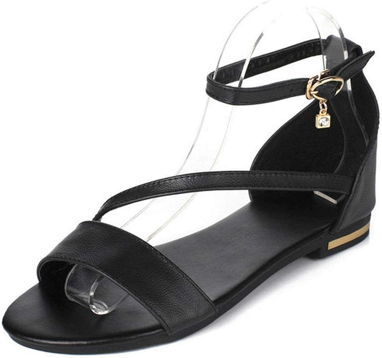 Charismatic-Vibrators Women Summer Sandals PU Leather Fashion Women shoes Low Cover Heel Casual Black Sandals