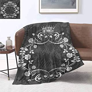 Flannel Blanket Queen Delicate Victorian Antique Circular Flora with Crown Vintage Grunge Rusted Royal Black and White Print Summer Quilt Comforter 50