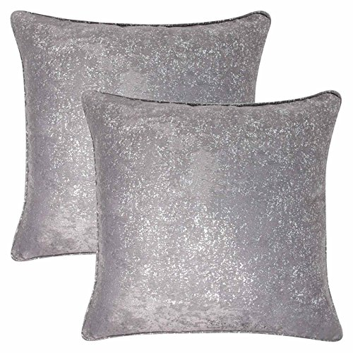 Ideal Textiles Set of 2 Halo Sparkle Cushion Covers, Metallic Bling Cushion Cover Pairs, Stunning Glitter Throw Cushion Cases, 17' x 17', 43cm x 43cm (Silver)