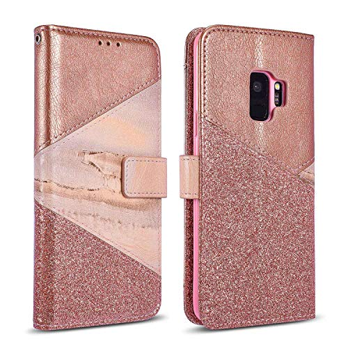 ZCDAYE Bling Glitter [Magnetic Closure] PU Leather [Ceramic Pattern] Flip Wallet Stand Folio Inner Soft TPU Stand Case Cover for Samsung Galaxy S6 - Rose Gold