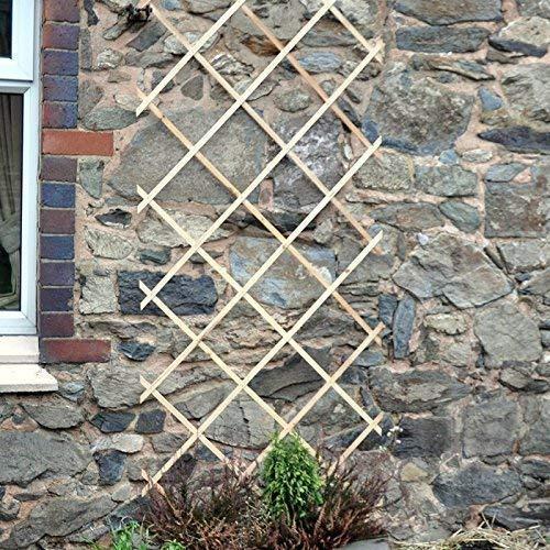 garden mile 2ft x 6ft Expanding Wooden Garden Trellis Robust Climbing Plant & Vegetable Support Natural Wood Garden Lattice Trellis (6ft x 2ft)