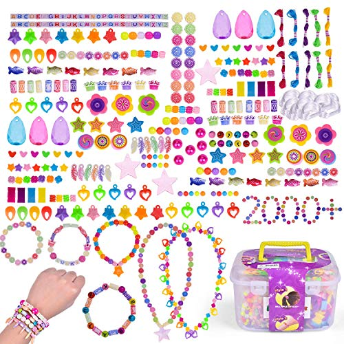 FUN LITTLE TOYS Pop Beads 2000+ PCs, Kids Jewelry Making Kits for 6 + Years Old Girls, DIY Arts and Crafts for Kids, Bracelet Making Kit for Girls
