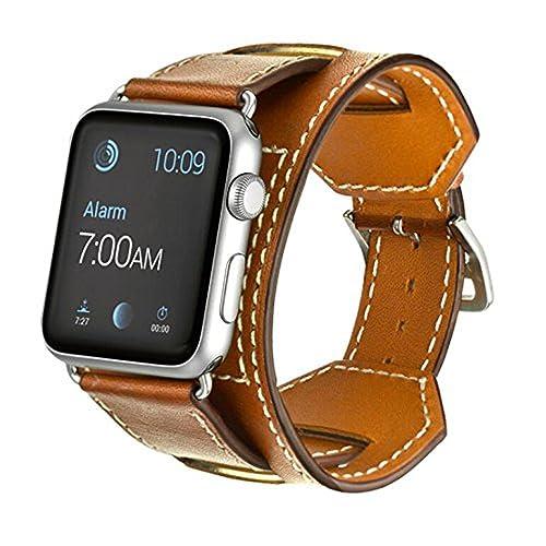 Sanday Bracelet pour AppleWatch Series 3 / 2 / 1,Bracelet de Remplacement Manchette en Cuir Pour Apple Watch 42mm Brown