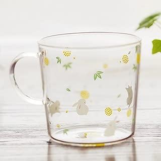 Rabbit Printed Glass Mug with Handle,Cute Animal Borosilicate Glass Cups Drinking Tea, Latte, Espresso, Juice,Milk (310ml,10.1OZ)