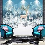 Hhkkck写真の壁紙現代3D森鹿雪風景壁画キッズベッドルームリビングルーム家の装飾壁紙3Dフレスコ画-160X120Cm