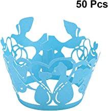 TOYANDONA 50Pc Wrappers Heat-Resistant Bell Creative Delicate Laser Cut Cupcake Wrapper for Wedding Birthday Party Decoration Home Baking Blue