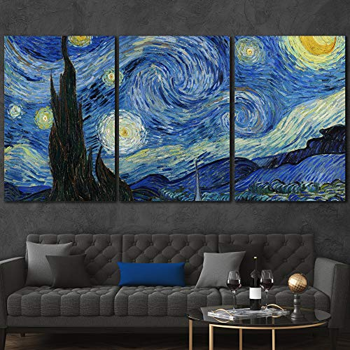 wall26 3 Panel Canvas Wall Art - Starry Night by Vincent Van Gogh -