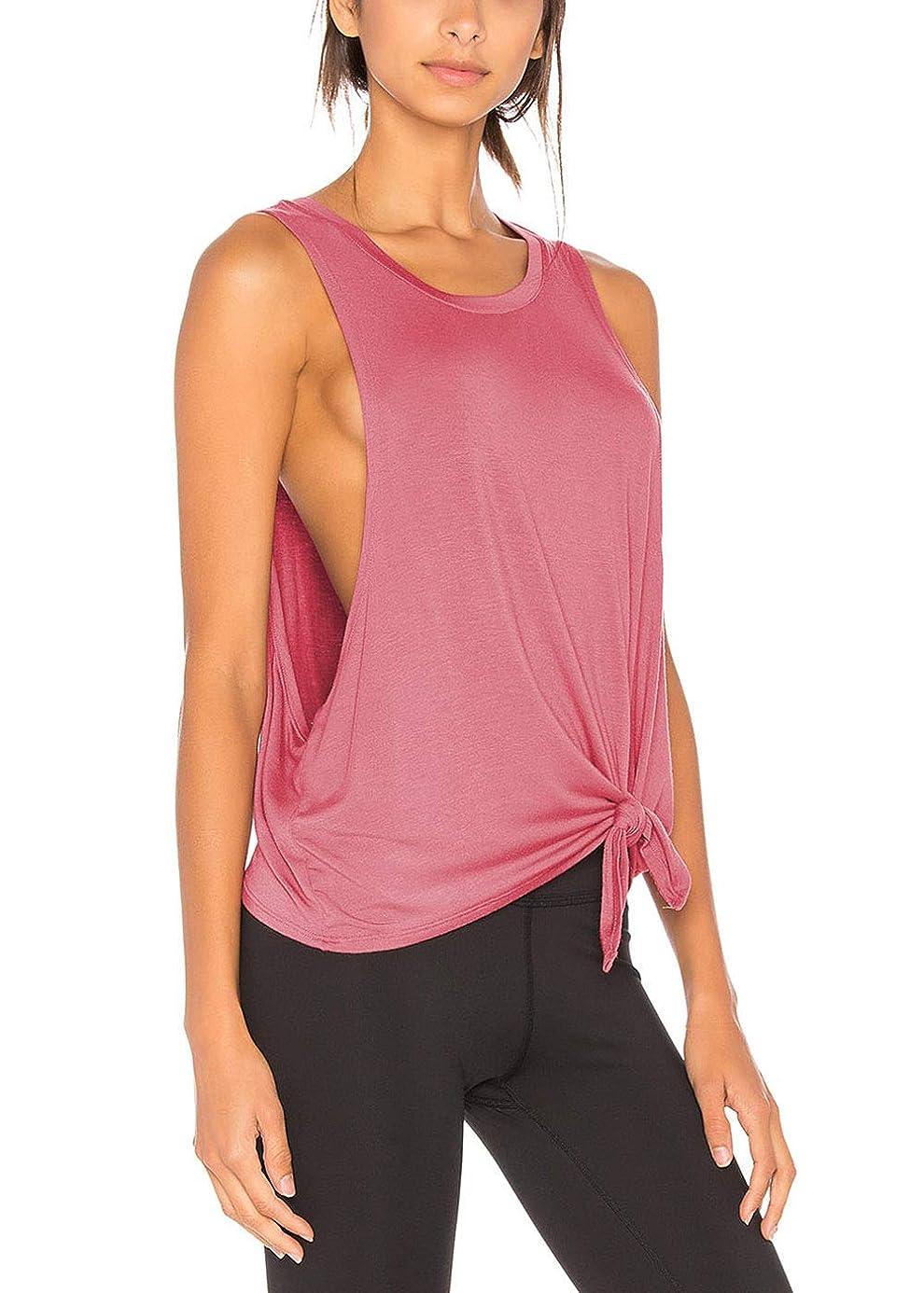 Bestisun Cute Workout Yoga Top Fitness Sport Shirts Tie Knot Activewear Tank for Sport Women