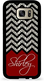 Custom Phone Case Galaxy S7 Case iZERCASE Monogram Personalized Grey White Black Colorful Chevron Pattern for Samsung Galaxy S7 (Maroon)