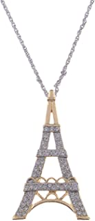 Alilang Womens Soft Golden Tone Clear Rhinestones Silvery Eiffel Tower Paris Pendant Necklace