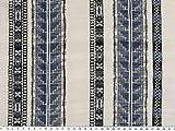 ab 1m: Baumwoll-Crépe, Ethno, blau-weiß, 138cm breit