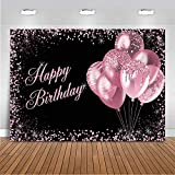 Mocsicka Pink Birthday Backdrop for Girls Women Happy Birthday Party Decoration...