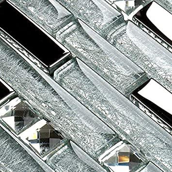Hominter 6 Sheets Silver And Clear Backsplash Tiles Glossy Coated Glass Tile For Kitchen Crystal Rhinestone Mosaic Accent Tile Wall In Bathroom Yg001 Amazon Com