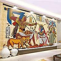LHGBGBLN 3Dリビングルーム壁画壁紙レトロエジプトパターンソファ背景壁ステッカー寝室の壁紙壁アート装飾