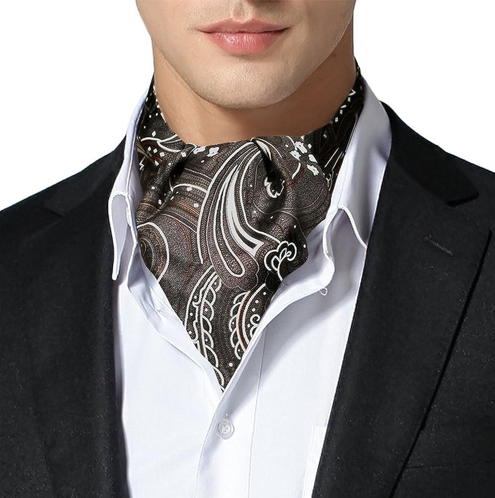 Remo Sartori Made in Italy Men's Silk Paisley Self Cravat Ascot Tie