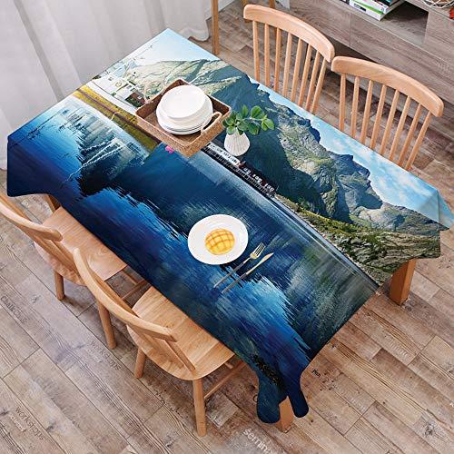 Tischdecke abwaschbar 140x200 cm,Bauernhof, Sonnenuntergang im norwegischen See von Fjords Formation Yacht Fishing Arctic Harbour Is,Ölfeste Tischdecke, geeignet für die Dekoration von Küchen zu Hause