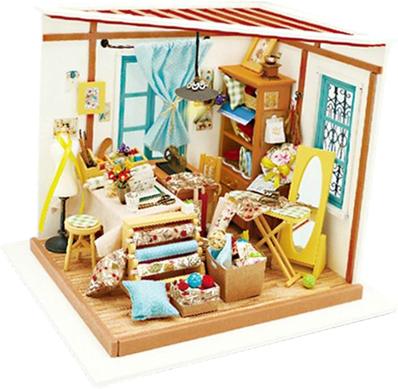 Baoblaze 1 24 Dollhouse Miniature DIY Prince Doll House Kits Tailor Shop Kids Toys