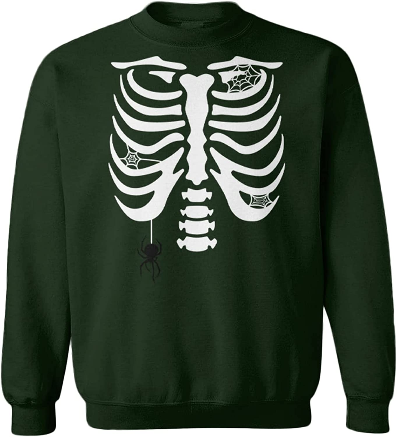 Tcombo Skeleton Ribcage Max 54% OFF with Spider Webs Fleece - Import Toddler Crewne