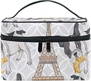 d734aceb1ec2ac KUWT French Bulldog with Croissant in Eiffel Tower Women Travel Cosmetic  Bag Portable Makeup Train Case