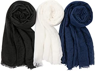 EVQ Soft Cotton Hemp Scarf Wrap Long Hijab Scarves for Women