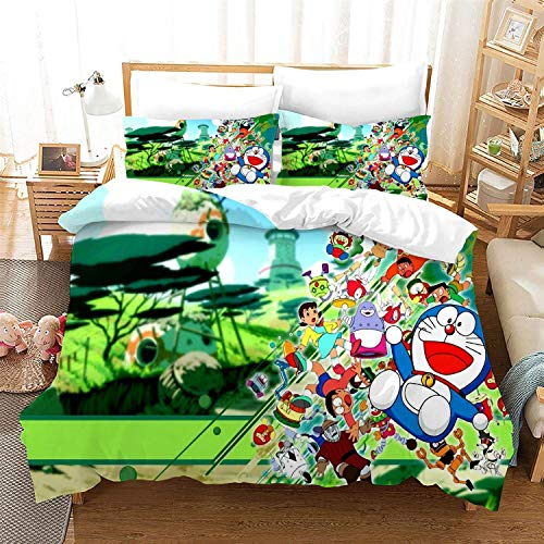 POPCC Doraemon: Doraemon Green Background Bedding Sets, Duvet Cover Sets, for Otaku and Anime Fan's Room 3Pcs 1 Quilt Cover & 2 PillowcasesEU Double(200x200cm)