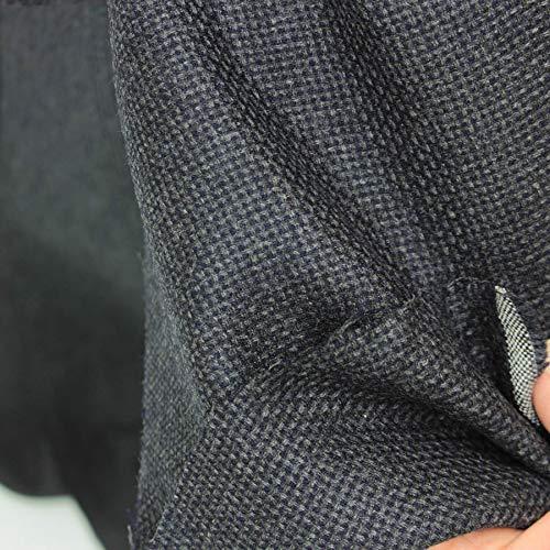 kawenSTOFFE Schurwolle Grau Blau kariert Wollstoff Anzugstoff Sommerwollstoff Meterware