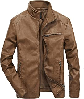 Autumn and Winter New Men's Jacket, Stand Collar Solid Color Locomotive Thin Section Thick Leather Casual Jacket