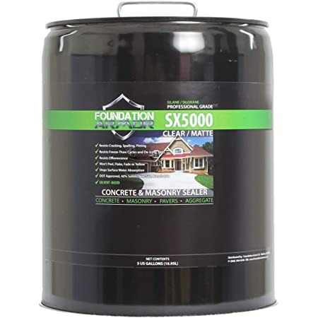 5-Gal. SX5000TM Penetrating Clear Solvent-Based Silane-Siloxane Concrete & Masonry Sealer, Water Repellent, Salt Guard by Foundation Armor