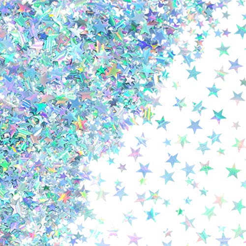 Silver Twinkle Stars Table Confetti - Sparkle Foil Metallic Sequins Confetti Wedding Under The Sea Baby Shower Birthday Party Sprinkles Confetti Decorations, 60g