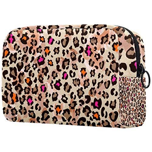 Bolsa de maquillaje para mujer, con cremallera, diseño de leopardo, color rosa
