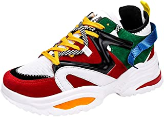 Mens Walking Shoes Breathable Knit Athletic Running Gym Sneakers Fashion Lacing Student Running Shoes