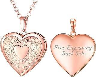 Women Girls Locket Necklace Platinum /18K Gold Photo Lockets Pendant with Rolo Chain 22