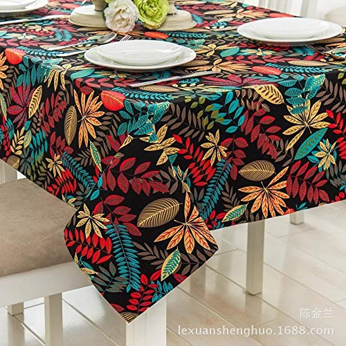HTUO Home Kitchen Decoration Tablecloths Rectangular Cotton Polyester Table Cover Waterproof Oil Proof Wedding Banquet Dining Christmas Party Living Room Outdoor 120 * 120cm