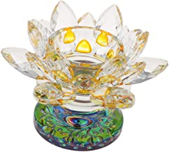 MagiDeal Tealight Candle Lotus Flower Candle Holders Feng Shui Stand Candlesticks Crystal Glass Home Decor - Yellow