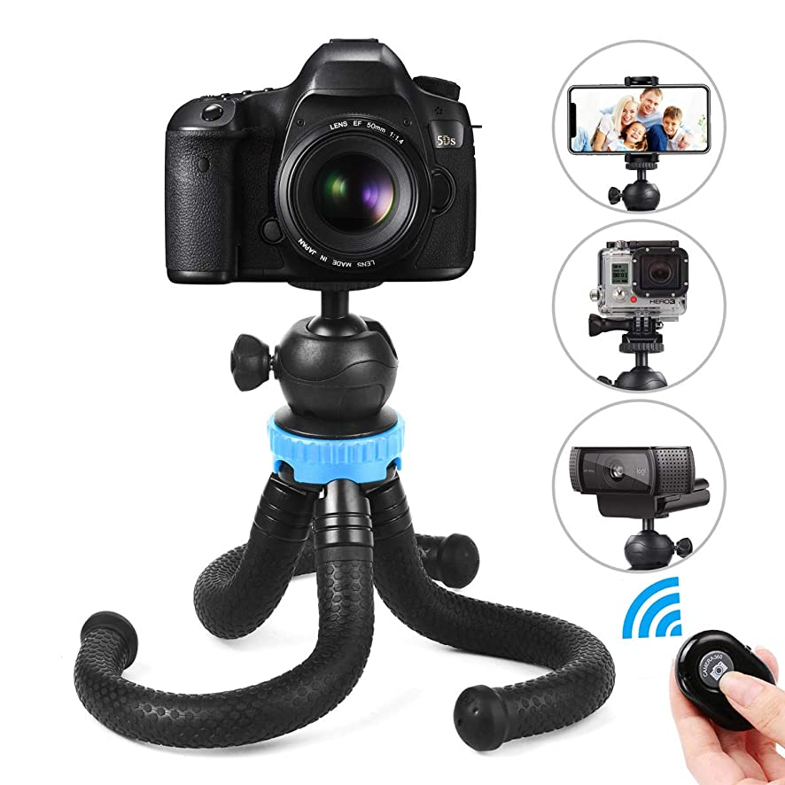 Phone Tripod, Foaber Flexible Portable Travel Octopus Tripods with Bluetooth Wireless Remote Shutter, Compatible with iPhone X 8 Plus, Samsung, GoPro, Action Camera and All Mobile Cell Phone